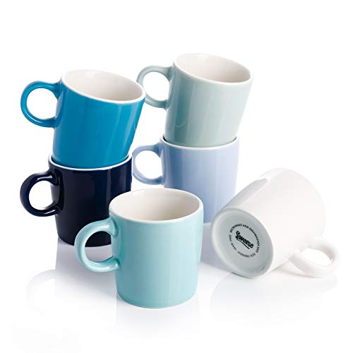 Sweese 409.003 Porcelain Espresso Cups - 3.5 Ounce - Set of 6, Cool Assorted Colors