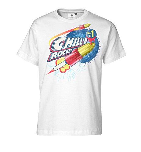 Customized by S.O.S Herren T-Shirt Chillin Rocket (M, Weiß)