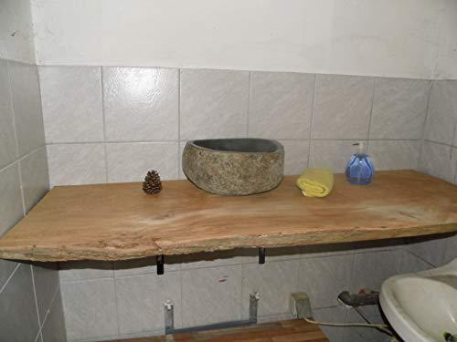 KJR Holzmanufaktur Waschtischplatte, Tischplatte ca. 80x40x6 cm, Waschtisch, geschliffen,Brett, Eiche, Wurmeiche, Alteiche