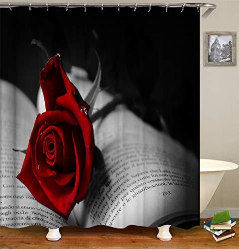 ZZZdz op het boek, grijs Il Y A Une Rose Rouge douchegordijn waterdicht gemakkelijk te reinigen. 180 x 180 cm.