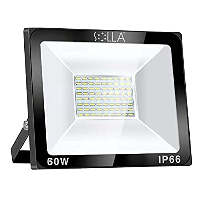 SOLLA Dimmable 60W LED Flood Light, IP66 Waterproof, 4800lm, 340W Equivalent, Super Bright Outdoor Security Lights, 6000K Daylight White, Outdoor Floodlight for Garage, Garden, Lawn and Yard