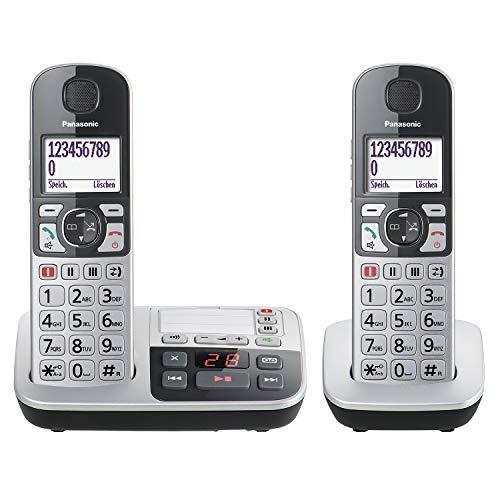Panasonic KX-TGE522GS DECT Seniorentelefon mit Notruf (Großtastentelefon mit Anrufbeantworter, schnurlos, Telefon DUO) silber-schwarz