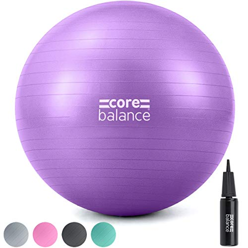 CORE BALANCE, Pilates Ball, Fitness, Yoga, Pregnancy, Fitball for Gymnastic Exercises - Very Resistant - Size 55cm 65cm 75cm 85cm - Inflator Included