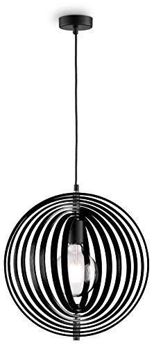 loxomo - houten hanglamp in Mobilé-stijl, Ø 40 cm x 140 cm, hanglamp met beweegbare frame-elementen, plafondlamp voor woon- en eetkamer, max.60W, decoratieve lamp met E27 stopcontact, IP20, hout zwart