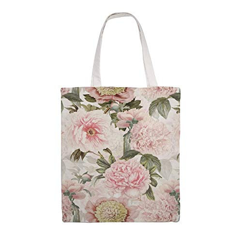Cotton Canvas Tote Bag Vintage & Shabby Chic - Antique Pink Peony Flowers Garden Shoulder Grocery Shopping Bags Cloth Shopping Bag