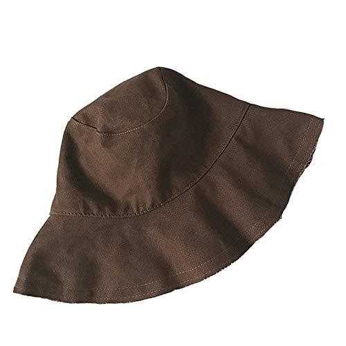 WAYATI Sombrero de pescador de borde salvaje de color sólido con visera grande protector solar temperamento lavabo tapa plegable de viaje esencial, Marrón, 56-58cm
