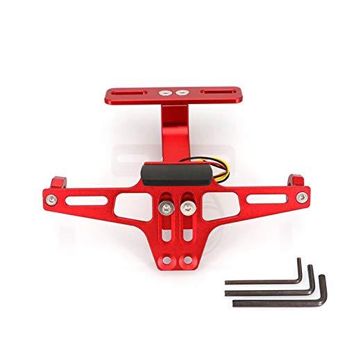 License plate bracket audi Motorcycle Adjustable Angle License Number Plate Frame Holder Bracket For Z800 Z750 Z1000 ER6N ER6F Z900 license plate bracket audi a6 (Color : Red)