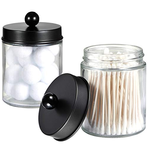 Apothecary Jars Bathroom Storage Organizer - Cute Qtip Dispenser Holder Vanity Canister Jar Glass with Lid for Cotton Swabs,Rounds,Bath Salts,Makeup Sponges,Hair Accessories/Black(2 Pack)