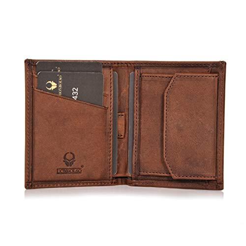 DONBOLSO® Rom I Mini Geldbörse mit RFID-Schutz I Slim Wallet mit Münzfach I echtes Leder I Geldbeutel in Braun Vintage