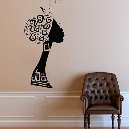 Pegatinas de pared Pendientes grandes Pegatinas de pared Cuello largo Mujer africana Ventana Arte Vinilo Salón de belleza Moda Chica Habitación Decoración interior