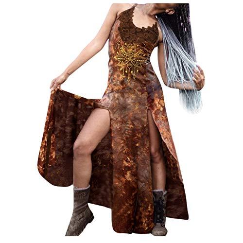 Eaylis Gothic Sommer Kostüm Kleid Schnürung Rückenfrei Kapuzen Party Vintage Kleid T-Shirtkleid Kleidung Damen Binggong Mittelalter Kostüm Punk Karneval Frau Cosplay Kurzarm Steampunk Minikleid