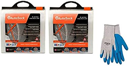 AutoSock AS685 (2 Sets) Traction Wheel and Tire Cover for Ice & Snow Easy Install Tire Chain Alternative with Free Poly-Cotton Glove, Large