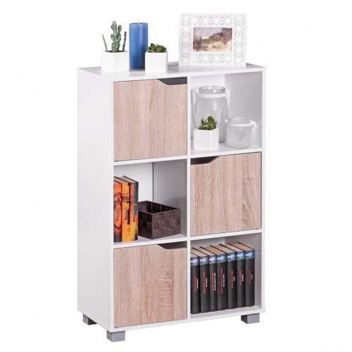 Wohnling Design Bücherregal Modern Holz Weiß mit Türen geschlossen Sonoma Eiche Standregal freistehend 6 Föcher 60 cm Breit x 90 cm Hoch x 30 cm Tief Freistehend Büroregal klein Holzregal zum stellen