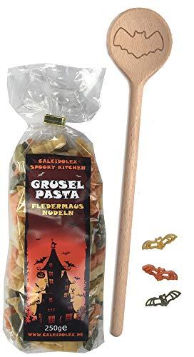 Halloween Grusel Pasta 2er-Set Nudeln und Kochlöffel 'Fledermaus': 250 g Fledermaus Nudeln bunt und Kochlöffel Buchenholz