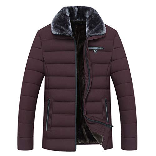 AKAIDE Herren Mantel Casual Winter Warm dick Flauschig Stehkragen Langarm Baumwolle Jacken Futter Plus Fleece Dicke Tops Plüsch Jacke Sweatshirts einfarbig Mantel Outwear Gr. XL, Wein