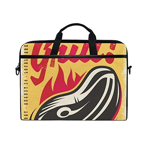 Irud Laptop-Tasche Let's Grill Grillgabel Aktentasche Schultertasche Messenger Bag Tablet Business Tragetasche Laptop Sleeve für Damen und Herren (38,1 - 39,1 cm)