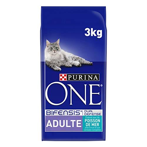 Purina One Adult - Seefisch und Vollkornprodukte - 3 kg - Trockenfutter für Katzen - 4er-Pack