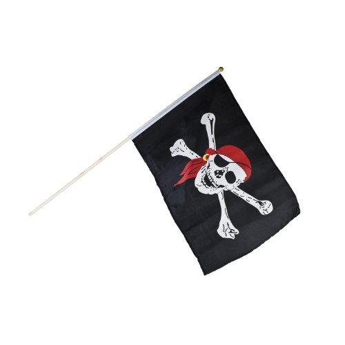 BestSaller 46 x 30 cm Drapeau Pirate avec bâton en Bois 58 cm (Multicolore)