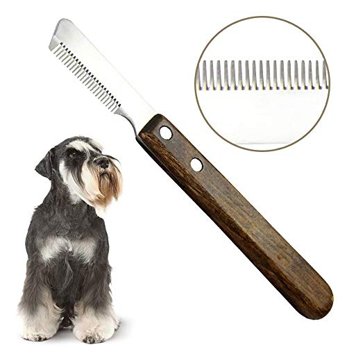 onebarleycorn - Dog Professional Stripping Knife,Stripping Knives Tool for Dogs Hand Stripping Knife for Border Terrier Pet Grooming Tool Ergonomic Wooden Handle(Right Handed)