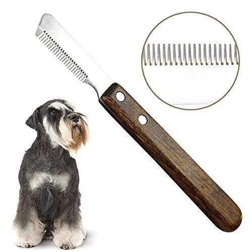 onebarleycorn – Cuchillo pelador Profesional para Perros, Mango de Madera ergonómico Herramienta de Aseo para Mascotas para Diestros
