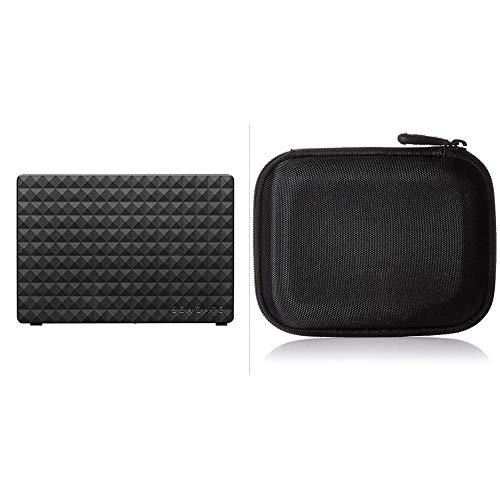 Seagate Expansion Desktop, 4 TB, Externe Festplatte, 3.5 Zoll, USB 3.0, PC & Notebook, Modellnr.: STEB4000200 & Amazon Basics Festplattentasche, schwarz