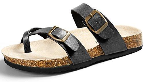 SANDALUP Pantoletten Damen Zehentrenner Sandalen Sommer Schuhe Black 38
