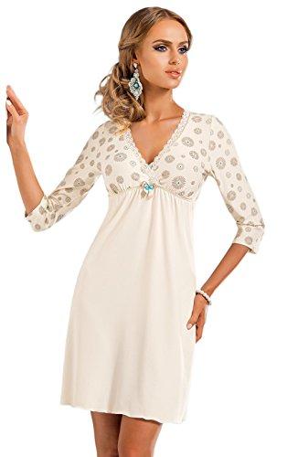 DONNA hochwertiges luftiges Viskose-Negligee Nachthemd Sleepshirt mit edlem Blumenprint, ecru, 3/4-Arm, Gr. 38
