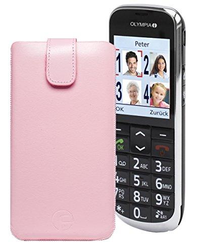 Favory® Etui Tasche für / OLYMPIA JOY / Leder Etui Handytasche Ledertasche Schutzhülle Hülle Hülle Lasche mit Rückzugfunktion* in Rosa