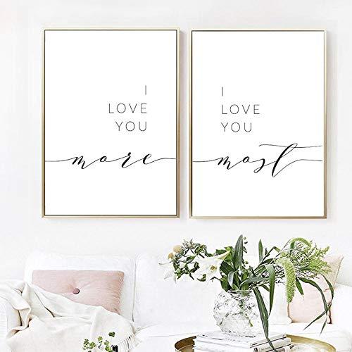 Te amo más Te amo más Decoración de la pared del dormitorio Cita romántica Impresión sobre la cama Parejas Póster Arte Lienzo Pintura 40x60cmx2 con marco