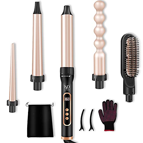 LAYADO 5 in 1 Curling Iron, Curling Wand Set with Hair Straightener Brush, Instant Heat Up Curling Wand with LCD & Temperature Adjustment Include Glove and 2 Hair Clips