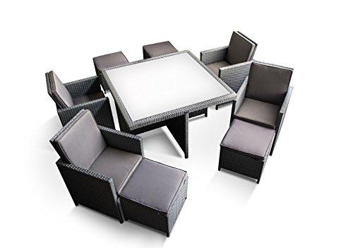 Ragnarök-Möbeldesign PolyRattan - DEUTSCHE Marke - EIGNENE Produktion - 8 Jahre GARANTIE auf UV-Beständigkeit Gartenmöbel Essgruppe Tisch + 4 Stühle & 4 Hocker 12 Polster Platinum Grau - 2