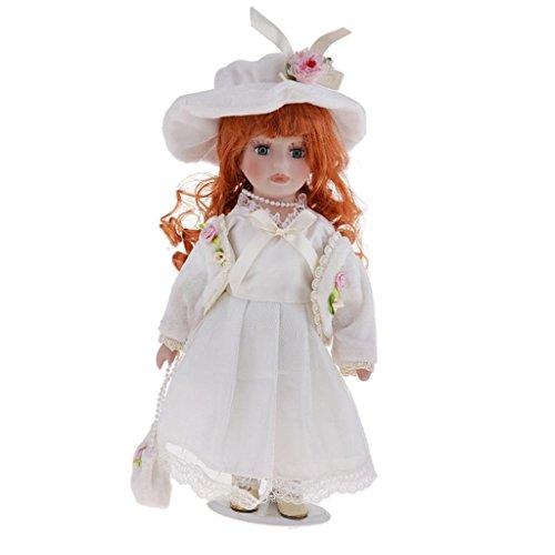 Sharplace Puppenhaus Miniatur Viktorianische Mädchen Porzellan Puppe im Bekleidung Mit Display Ständer - 30cm - # A
