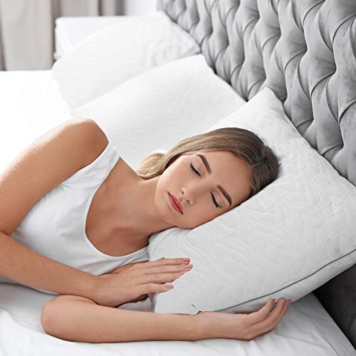 LightEase Shredded Memory Foam Pillow, Hypoallergenic Adjustable Loft Pillow with Cooling Washable Cover, Extra Filling Bag for Side Back Stomach Sleepers -CertiPUR-US Certified-Queen Size Bed Pillow