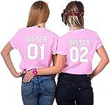 Couples Shop BFF Best Friends Mujer Niñas T-Shirt Pareja Sister - 1x Camiseta Sister 01 Rosa S