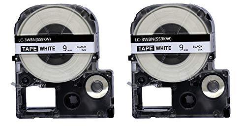 2PK Onirii Compatible Epson Labelworks Label Tape Cartridge LW-300 LW-400 LW-500 LW-600 LC-3WBN9(LK-3WBN) Black On White Label Maker Tape Refill Cartridge 9mmx26.2ft