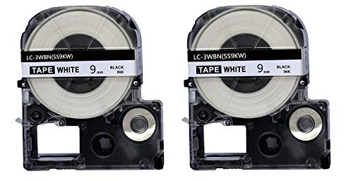 2PK Onirii Compatible Epson Labelworks Label Tape Cartridge LW-300 LW-400 LW-500 LW-600 LC-3WBN9(LK-3WBN) Black On White Label Maker Tape Refill Cartridge 9mmx26.2ft