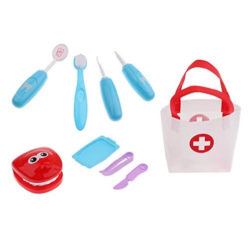Zahnarzt Spielzeug Kinder, Kinderarztkoffer Zahnarzt Kinderspielzeug Kinder Pretend Play Toys Rollenspiele Spielzeug - Blau