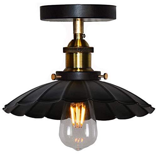 Deckenlampe Vintage Lampe Industrial Design E27 Regenschirm Deckenleuchte Lampenschirm Aus Metall-Schwarz