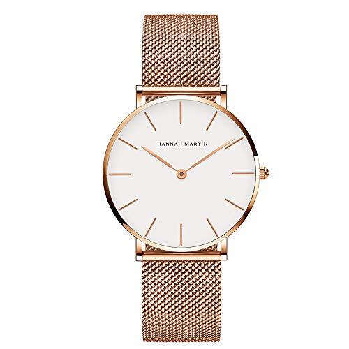 Relojes Oro Rosa Reloj para Mujer de Pulsera Esfera de Reloj Mesh Acero Inoxidable Mesh Correa…