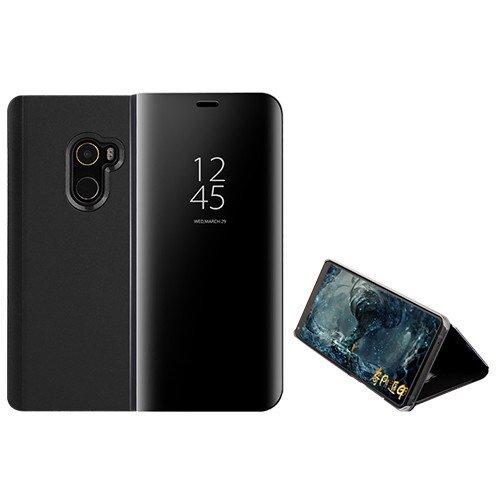 Funda® Specchio Placcatura Flip Custodia per Xiaomi Mi MIX 2 (Nero)
