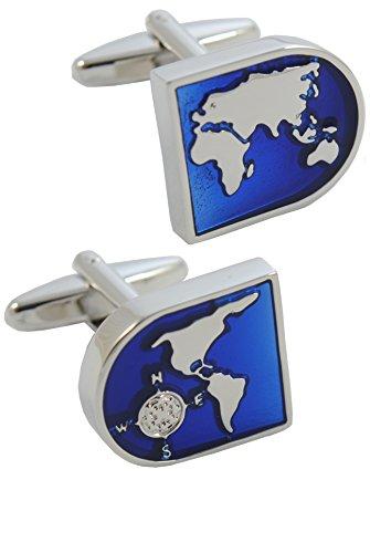 COLLAR AND CUFFS LONDON - Boutons de Manchette avec Boite-Cadeau - Grand Qualité - Carte du Monde - Laiton - Couleur Bleu et Argent - Rond Terre Voyag