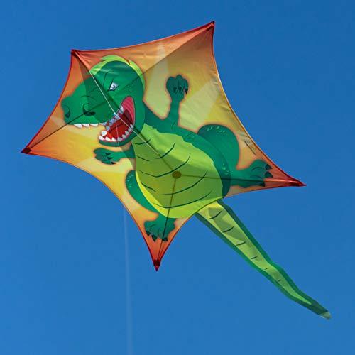 CIM Drachen – Penta T-Rex – Abmessung: 167cm x 102cm - Einleiner Flugdrachen für Kinder ab 6 Jahren - inkl. 80m Drachenschnur und Streifenschwänze