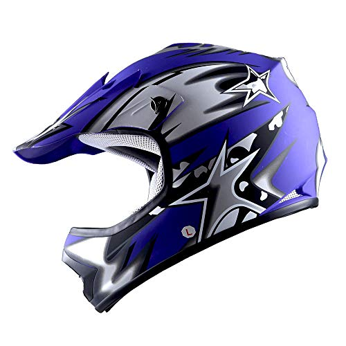 WOW Youth Kids Motocross BMX MX ATV Dirt Bike Helmet Star Matt Blue