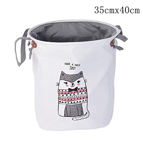 SEESEE.U Laundry Baskets Collapsible,Kitten Cute Animal Laundry Basket Foldable Toy Storage Picnic Dirty Clothes Basket Box Cotton Wash Clothes Box Baby Organizer