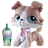 QY lps Collie #67 Gray and White Dog with Blue Eyes lps Figures with lps Accessories Collar and Drinks Kids Collectable Gift
