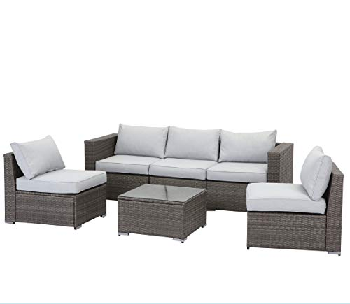 Wisteria Lane 6 Piece Outdoor Furniture Set, Patio Sectional Sofa for Garden Backyard, Modular Wicker Couch with Glass Table - Upgrade Grey Cushion