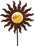 Bornhöft Gartenstecker Metall Rost Gartendeko rostige Dekoration Edelrost mit Glaskugeln (Sonne)