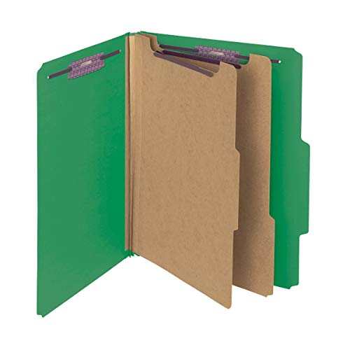 """Smead Pressboard Classification File Folder with SafeSHIELD Fasteners, 2 Dividers, 2"""" Expansion, Letter Size, Green, 10 per Box (14033)"""