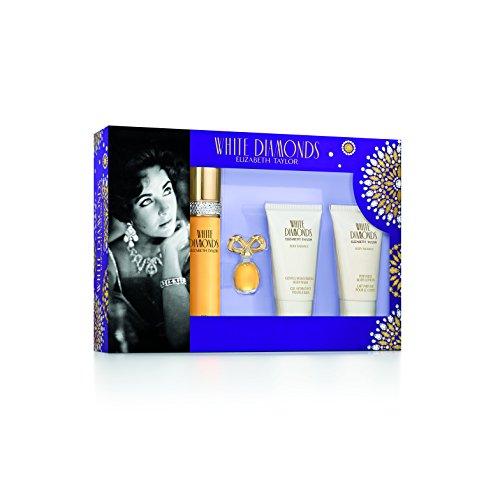 Elizabeth Taylor de joy Division White Diamonds Eau de Toilette 50ml con leche perfumada para el cuerpo 50ml + Gel Hidratante para el baño 50ml + miniatura Eau de Toilette 3,7ml