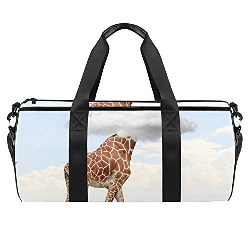 Bolsas de playa de viaje, gran deporte, gimnasio, durante la noche, jirafa, sabana, animales, bolsa de hombro con impresión de África con bolsillo seco y húmedo